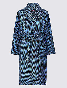 Pure Cotton Printed Dressing Gown, BLUE MIX, catlanding