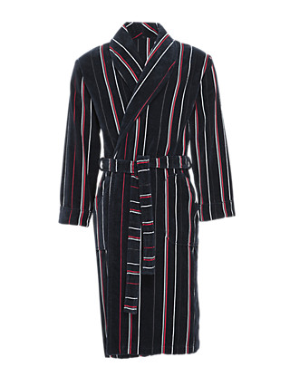 Pure Cotton Striped Velour Dressing Gown Clothing