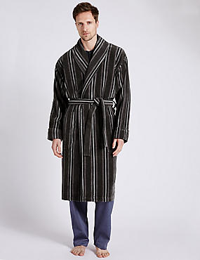Pure Cotton Thermal Velour Striped Dressing Gown