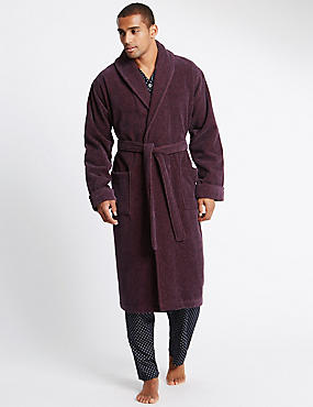 Pure Cotton Long Sleeve Dressing Gown