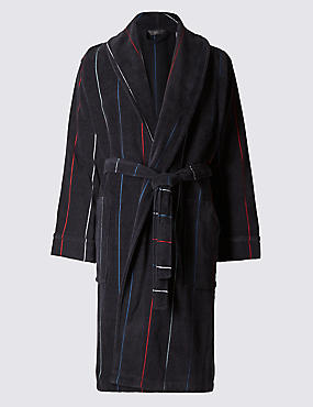 Pure Cotton Thermal Velour Jacquard Striped Dressing Gown