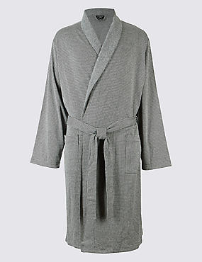 Pure Cotton Textured Dressing Gown