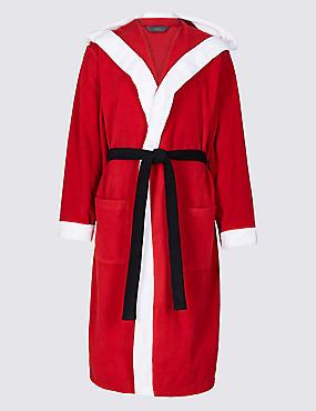Santa Fleece Dressing Gown, RED MIX, catlanding