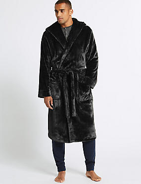 Hooded Fleece Dressing Gown with Belt, BLACK, catlanding