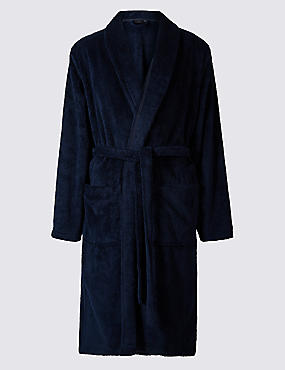 Supersoft Fleece Dressing Gown with Belt, NAVY, catlanding