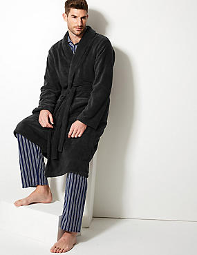 Supersoft Fleece Dressing Gown with Belt, STEEL, catlanding