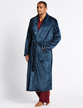 Long Line Fleece Dressing Gown with Belt