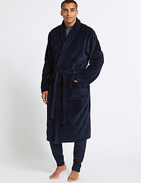 Fleece Dressing Gown with Belt, NAVY, catlanding