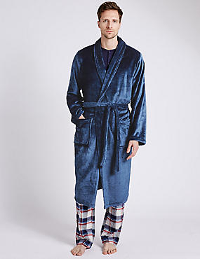2in Longer Fleece Dressing Gown with Belt