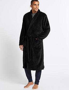 Fleece Dressing Gown with Belt, BLACK, catlanding