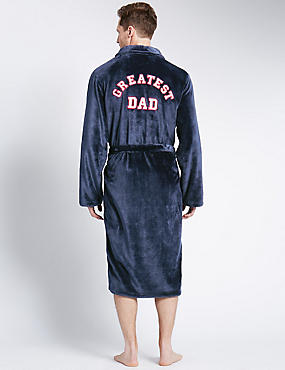 Greatest Dad Embroidered Fleece Dressing Gown
