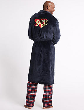 Supersoft Super Dad Fleece Dressing Gown, NAVY, catlanding