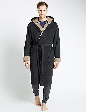 Hooded Stay Soft Bonded Fleece Dressing Gown