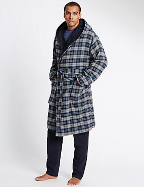 Brushed Cotton with Fleece Lining Checked Gown