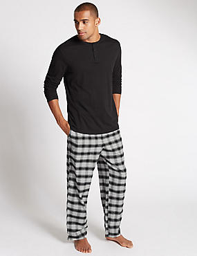 2in Longer Pure Cotton Checked Pyjamas