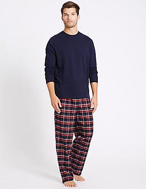 Pure Cotton Checked Pyjama Set, NAVY/RED, catlanding
