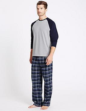 Big & Tall Brushed Cotton Checked Pyjama Set, NAVY MIX, catlanding