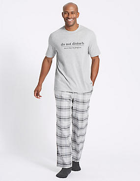 Pure Cotton Checked Crew Neck Pyjama Set
