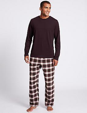 Pure Cotton Checked Pyjama Set, MULBERRY MIX, catlanding