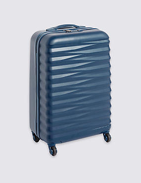 Medium 4 Wheel Essential Hard Suitcase with Security Zip