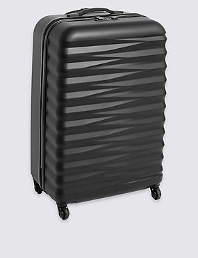 Large 4 Wheel Essential Hard Suitcase with Security Zip