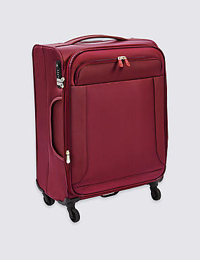 Medium 4 Wheel Ultralight Soft Suitcase with Security Zip