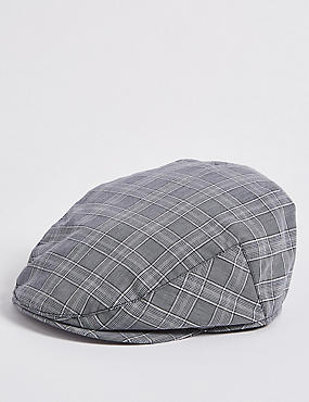 Cotton Rich Windowpane Flat Cap, NAVY MIX, catlanding