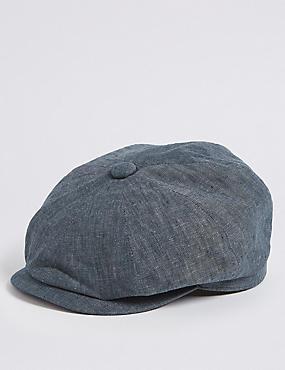 Pure Linen Baker Boy Hat, NAVY, catlanding