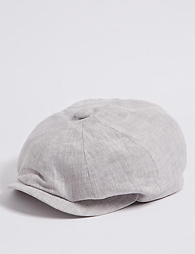 Pure Linen Baker Boy Hat, , catlanding