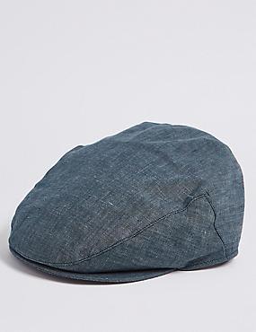 Pure Linen Flat Cap, NAVY, catlanding
