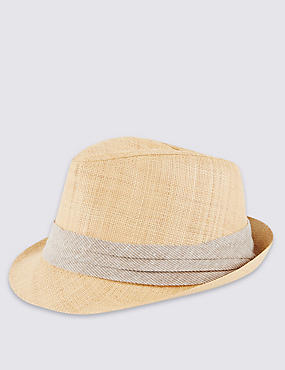 Textured Straw Trilby Hat