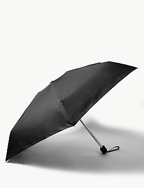 Lightweight Compact Umbrella with Stormwear™ & Windtech™, BLACK, catlanding