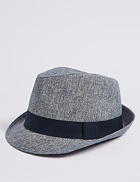 Linen Blend Trilby Hat, NAVY MIX, catlanding