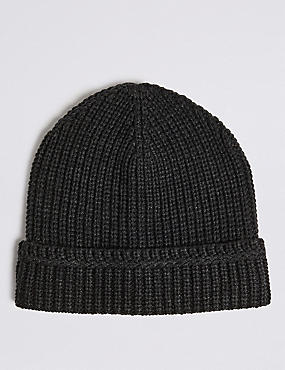 Ribbed Beanie Hat, DARK CHARCOAL, catlanding