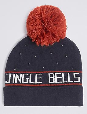 Christmas Jingle Bells Beanie Hat, MULTI, catlanding
