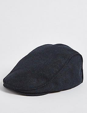 Wool Blend Flat Cap, NAVY, catlanding