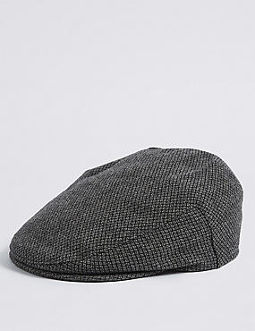 Wool Blend Thinsulate™ Flat Cap with Stormwear™, GREY, catlanding