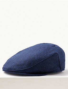 Pure Wool Flat Cap with Stormwear™ , BLUE MIX, catlanding