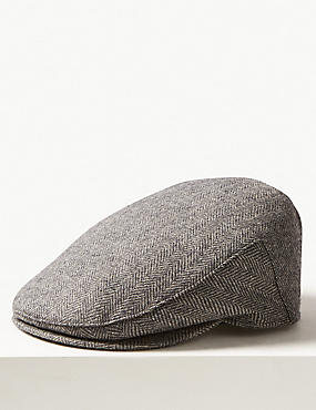 Pure Wool Thermal Flat Cap with Stormwear™ , GREY MIX, catlanding