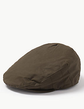 Pure Cotton Wax Flat Cap with Stormwear™ , OLIVE, catlanding