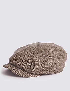 Pure Wool Baker Boy Hat, OATMEAL, catlanding