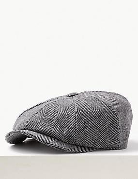 Wool Blend Baker Boy Hat with Cashmere, GREY, catlanding
