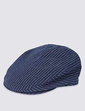 Pure Cotton Striped Flat Cap