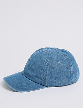 Pure Cotton Baseball Cap, DENIM, catlanding