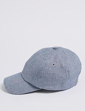 Linen Blend Textured Baseball Cap, NAVY, catlanding