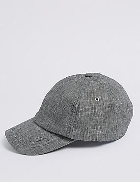 Linen Blend Textured Baseball Cap, BLACK MIX, catlanding