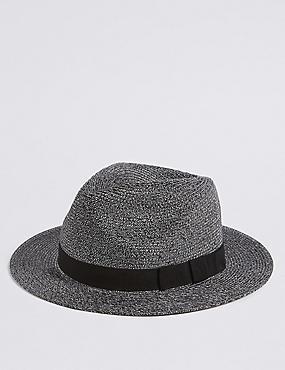 Braided Broadbrim Ambassador Hat, NAVY, catlanding