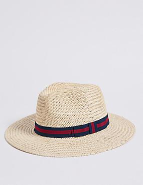 Hand Woven Ambassador Hat, NATURAL, catlanding