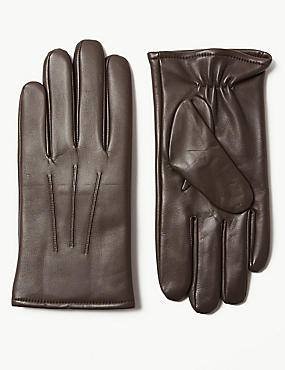 Leather Gloves, BROWN, catlanding