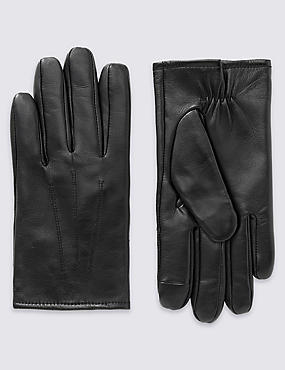 Touchscreen Leather Gloves with Thinsulate™, BLACK, catlanding